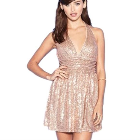 f8d3b9a7 Forever 21 Dresses & Skirts - 21 Exclusive Rose Gold Sequin Skater Halter  Dress